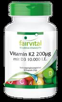 Vitamin K2 200µg mit D3 10000 I.E. - 90 Kapseln