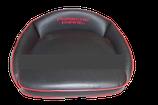 Fahrer - Sitzkissen, schwarz / Keder rot, bestickt