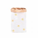 """Paperbag, Papiersack """"Sterne Gold """", Blanko mit Stickerbogen (6 goldene Sterne ) zum selbst bekleben"""