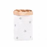 """Paperbag, Papiersack """"Sterne Silbern """", Blanko mit Stickerbogen (6 silberne Sterne ) zum selbst bekleben"""