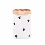 """Paperbag, Papiersack """"Sterne Schwarz """", Blanko mit Stickerbogen (6 schwarze Sterne ) zum selbst bekleben"""
