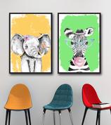 2x Tierkinder: Elefant und Zebra