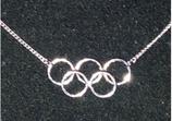 Kette mit Anhänger Olympia mit bunten Ringen Silber