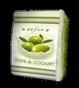 Peelingschwamm mit Seife Olive & Jogurt 80g