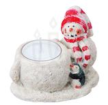 キャンドルホルダー クリスマス グリッタースノーマンホルダー キャンドル1個付き レッド キャンドルスタンド クリスマスキャンドル スノーマン キャンドルグラス 雪だるま ろうそく立て クリスマス雑貨