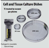 Cajas Petri para Cultivo Celular,  Estériles,  5 Medidas Disponibles: 35x10 mm, 60x15 mm, 70x15 mm, 100x20 mm y 150x22 mm. OLYMPUS PLASTICS
