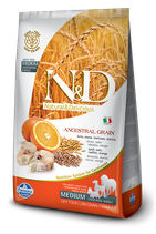 N&D ancestral grain merluzzo e arancia adult medium 2,5kg