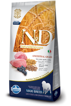 N&D ancestral grain agnello e mirtillo adult maxi 12kg