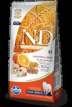 N&D ancestral grain merluzzo e arancia adult maxi 12kg
