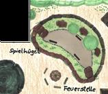 Spielhügel aus Trockenmauer, Findlingstreppe und Steingruppe