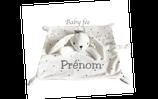 Doudou personnalisé lapin blanc mouchoir