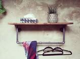 Loft Wandgarderobe Vintage Garderobe aus Rohren mit Ablage im Industrial Style