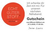 """GUTSCHEIN 3 per PDF: """"Ich schenke Dir Zeit mit mir. Für unseren nächsten Nähabend."""""""