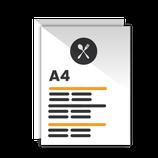 Carta Menú formato tamaño A4. 29,7 x 21 cm.