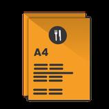 Carta Menú formato A4. 29,7x21 cm. Pvc irrompible.