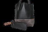 Schultertasche / Shopper - Lederfaserstoff: Schwarz & Grau