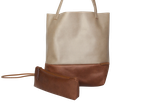 Schultertasche / Shopper - Lederfaserstoff: Beige & Braun