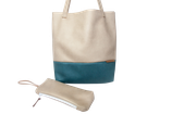 Schultertasche / Shopper - Lederfaserstoff: Beige & Petrol