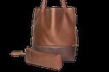 Schultertasche / Shopper - Lederfaserstoff: Braun & Dunkelbraun