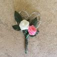 """Hochzeitsanstecker """"Perldrahtherz rosa"""""""