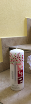 Taufkerze 20x7cm, Lebensbaum rosatöne