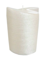 Kerze oval abgeschrägt 20x13cm Perlmutt