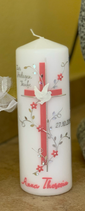 Taufkerze 20x7cm, Kreuz mit Ranken in Altrosa