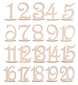 Tischnummer 1-20 aus Holz