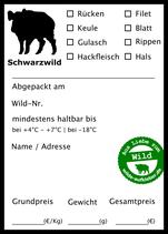 100x Wildbret-Aufkleber, verschiedene Ausführungen