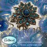 Brosche Blue Power Flower Vintage goldfarben blau