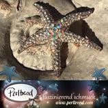 Brosche Goldfarben Crystal Aurora Borealis Seestern