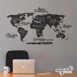 Mapas - Mapamundi de letras elegantes
