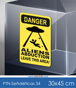 Señaléticas - Danger Aliens Abduction