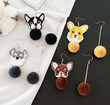 Cute Dog  Ball Earrings