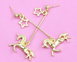 Metal Unicorn Drop Earrings