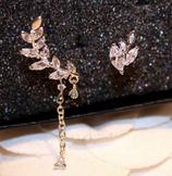 Leaf Crystal 2 piece Ear Cuff