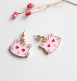 Cute Face  Pink Cat Earrings