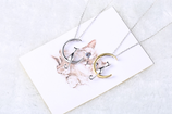 Cat With Moon Sterling Silver Necklace