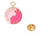 Romantic Pink  Clock Pin Brooch