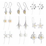 Elegant  Sterling Silver Flower Drop Earrings