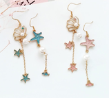 Lovely shell And Starfish Long Earrings
