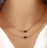 Double Strand With Black Stone Necklace