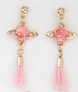 Pink Planet Tassels Earrings