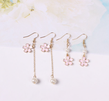 Cherry Blossom Long  Pearl Earrings