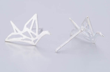 Sterling Silver Lovely Origami Crane Earrings