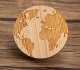 Wood World Map Brooch
