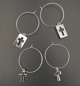 Hoop With Cross Charm Earrings