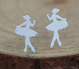 Sterling Silver Cute  Ballet Dancer Stud Earrings