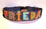Jeans Halsband upcycling mit Namen und Klickverschluss /7.