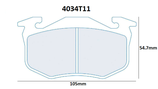 PLAQUETTES DE FREIN CARBONE LORRAINE CITROEN SAXO XSARA ZX ARRIERE / PEUGEOT 106 205 206 306 309 ARRIERE / RENAULT CLIO 1 ET 2 MEGANE 1 R5 GT TURBO ARRIERE / ALPINE A310 AVANT ET ARRIERE 4034T11 RC6